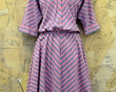 80s does 50s Dress - Blue and Pink Striped American Shirt Dress - Full Skirt -Size M/L