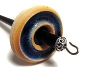 Stoneware with Blue Glass Inlay Drop Spindle, 1.1oz