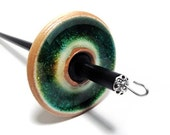 Stoneware with Green Glass Inlay Drop Spindle, 1.27oz