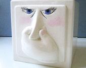 Stinky Face. Vintage 1970s Klay Kraft tissue holder.