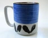 1970s stoneware mug, blue.