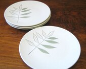 1960s Melmac plates. Mallory Adams House leaf pattern. Set of 4.