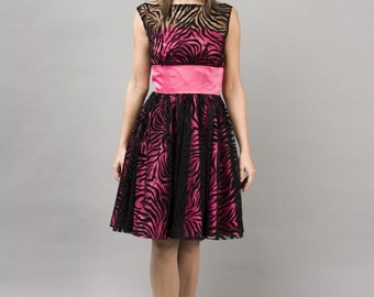 Fuschia Zebra formal dress XS