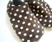 Custom Super Soft Brown and White Dot Minky Slippers (6 months up to 7 yrs)