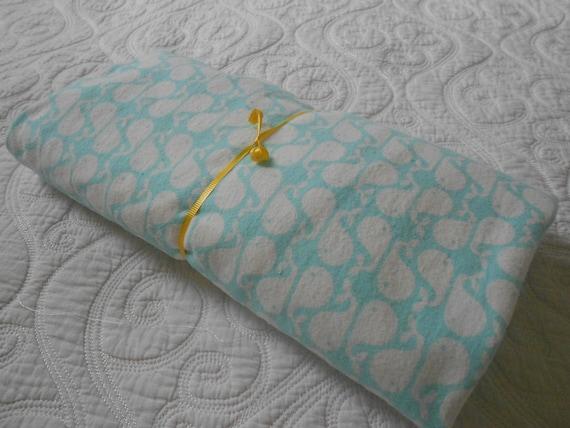 Blue Flannel Whale Crib Sheet