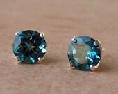 8mm Genuine London Blue Topaz Stud Earrings in Sterling Silver, Cavalier Creations