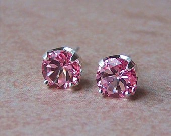 7mm Genuine Pink Topaz Stud Earrings in Sterling Silver, Cavalier Creations