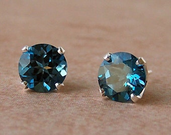 8mm Genuine London Blue Topaz Stud Earrings in Sterling Silver, Cavalier Creations