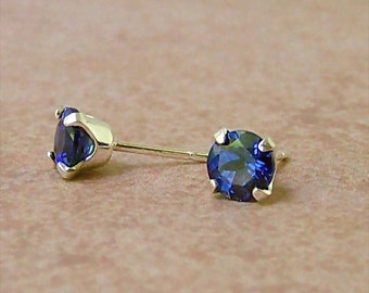 6mm Precision Faceted Lab Blue Sapphire Sterling Silver Stud Earrings, Cavalier Creations