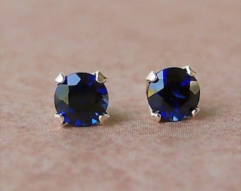 5mm Precision Faceted Lab Blue Sapphire Sterling Silver Stud Earrings, Cavalier Creations