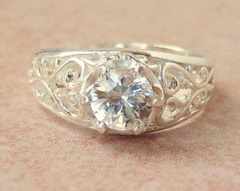 Lab Created White Sapphire Sterling Silver Filigree Ring, Cavalier Creations
