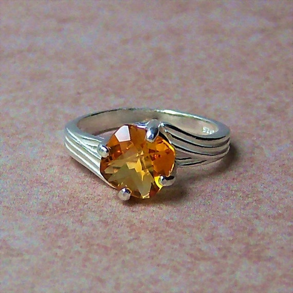 Madeira Citrine Checkerboard Faceted Cushion, Sterling Silver Ring, Cavalier Creations