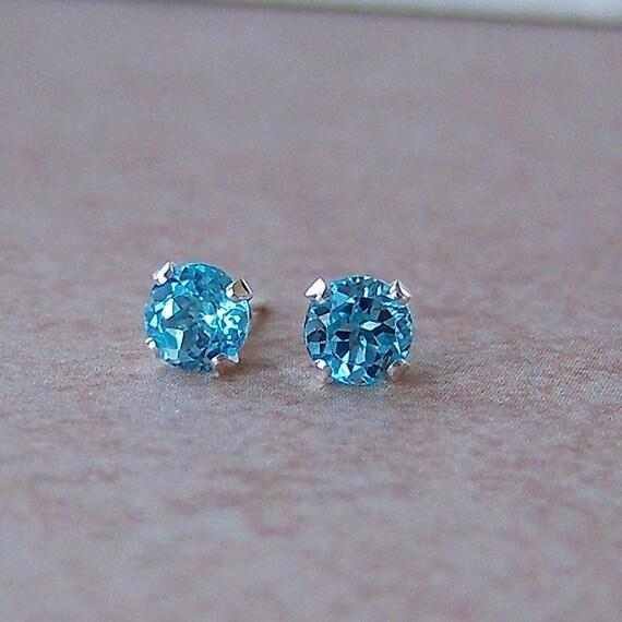 6mm Swiss Blue Topaz Sterling Silver Stud Earrings, Cavalier Creations
