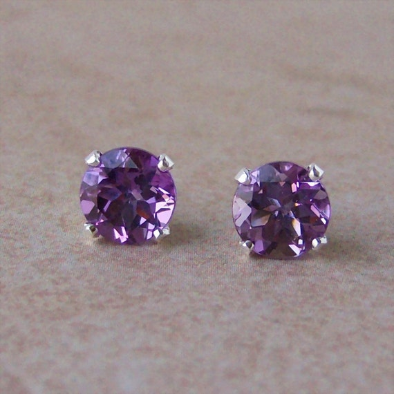 7mm Brazilian Amethyst Sterling Silver Stud Earrings, 3.5ct, Cavalier Creations