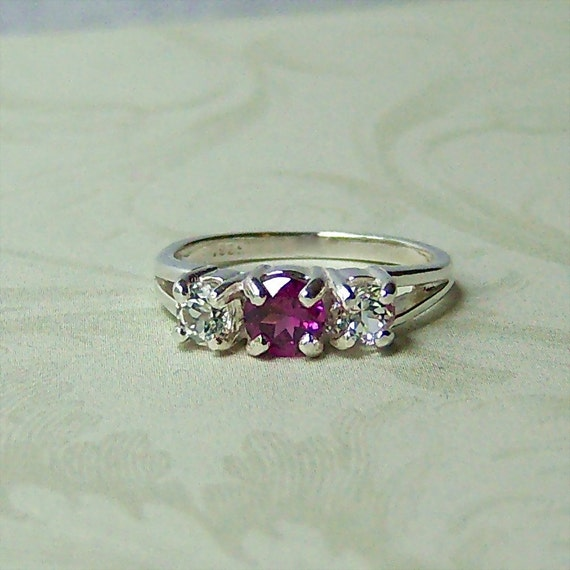 Genuine Rhodolite and Clear White Topaz Sterling Silver 3 Stone Ring, Cavalier Creations