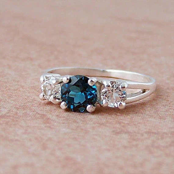 Genuine London Blue and White Topaz 3 Stone Ring in Sterling Silver, Cavalier Creations