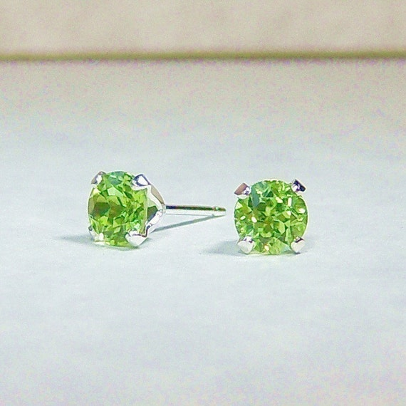 Bright Lime Green Genuine Peridot, 5mm Round, 1ct Sterling Silver Stud Earrings, Cavalier Creations