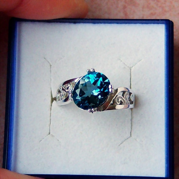 Genuine London Blue Topaz Sterling Silver Filigree Ring, Cavalier Creations