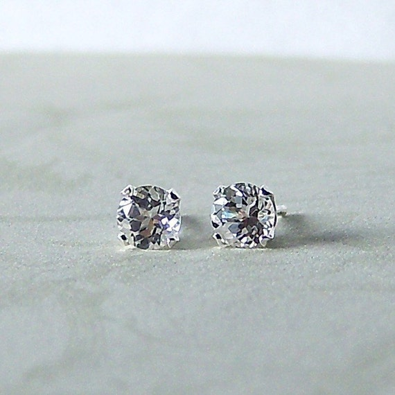5mm Diamond Faceted White Topaz Sterling Silver Stud Earrings, Cavalier Creations