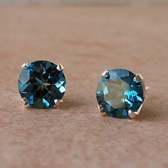 7mm Genuine London Blue Topaz Stud Earrings in Sterling Silver, Cavalier Creations