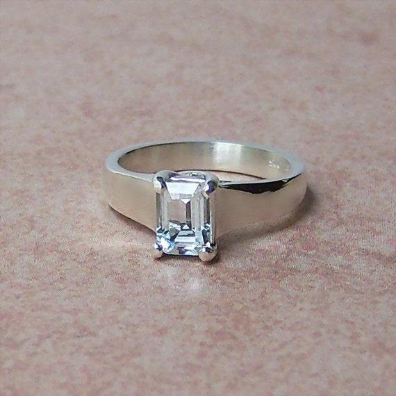 Genuine White Aquamarine Sterling Silver Ring, Cavalier Creations