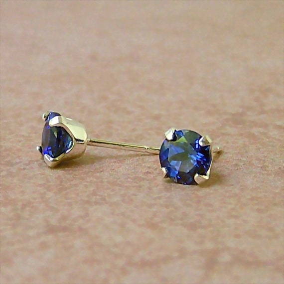 6mm Diamond Faceted Lab Blue Sapphire Sterling Silver Stud Earrings, Cavalier Creations
