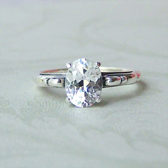 1.75ct Lab White Sapphire Sterling Silver Ring, Cavalier Creations