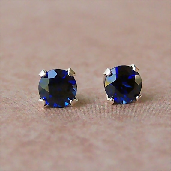 5mm Diamond Faceted Lab Blue Sapphire Sterling Silver Stud Earrings, Cavalier Creations