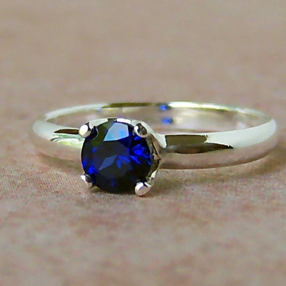 Lab Created Blue Sapphire Argentium Sterling Silver Ring, Cavalier Creations