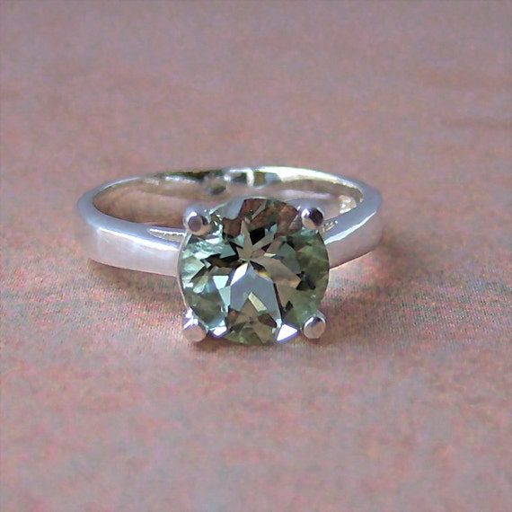 RESERVED 8mm Prasiolite Sterling Silver Ring, Cavalier Creations