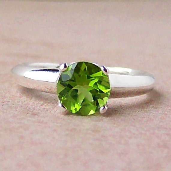 Genuine 7mm Peridot Argentium Sterling Silver Ring, Cavalier Creations