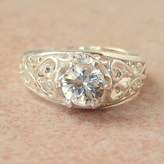 lab created white sapphire sterling silver filigree ring