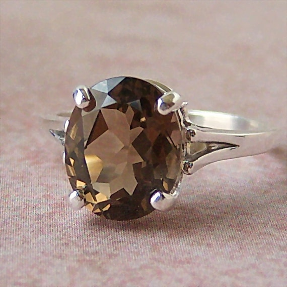 2.38ct Champagne Smoky Quartz Sterling Silver Ring, Cavalier Creations