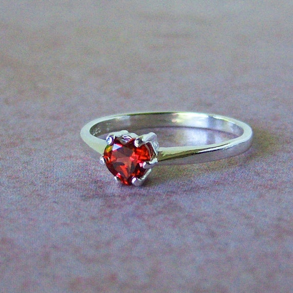 Petite Heart Garnet Sterling Silver Ring, Cavalier Creations