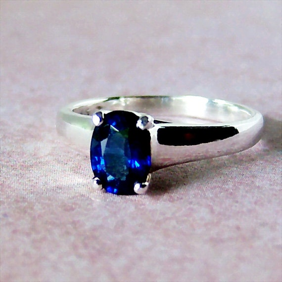 1.23ct Genuine Ceylon Sapphire, Sterling Silver Lucern Style Ring, Cavalier Creations