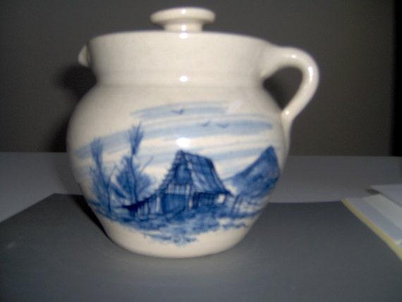 Vintage 1940s Stoneware pitcher by PR Storie Company