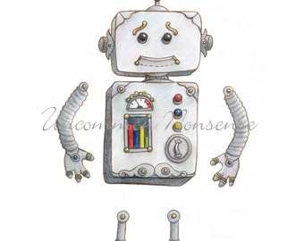 Alfred the Robot, Paper Doll, Steampunk Puppet