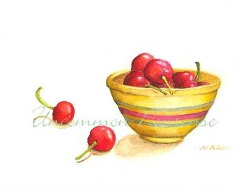 A Bowl of Cherries, an Original Watercolor Print