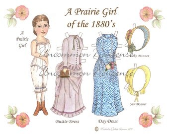 A Prairie Girl of the 1880's Pioneer Paper Doll