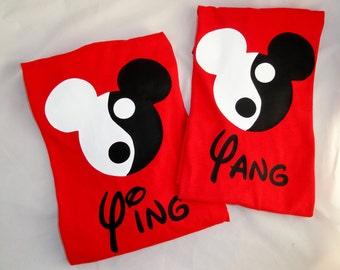2 Custom Ying Yang Mouse Ears Kid T Shirts