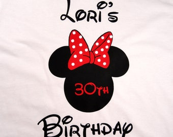 Personalized Mouse Ears Womens Birthday T Shirt