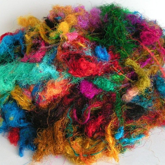 SILK SARI Threads Recycled Multi Colored Spin Craft Felt 1 ounce
