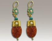 24K Gold Plated Earrings, Gold Agate Earrings, Fire Agate Earrings, Pearl Jewelry, Turquoise Earrings, Gold Dangle Earrings - Just u and me