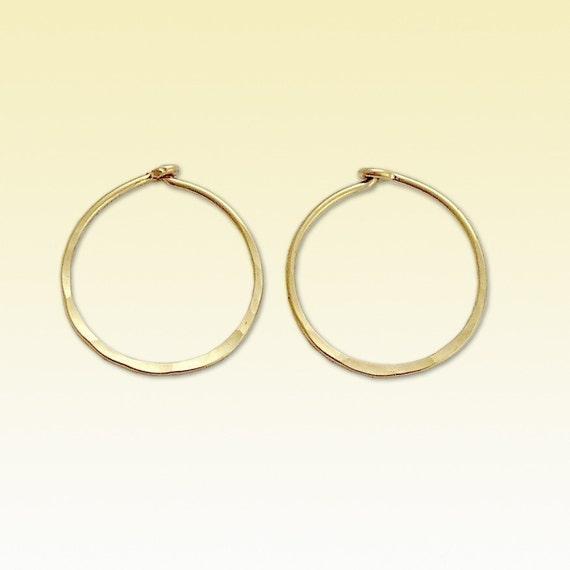 14K Gold Filled Earrings, Simple Hoop Earrings, Yellow Gold Filled Hoop Earrings, Hammered Earrings, Light Weight Jewelry - Keep it simple