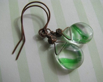 Green Earrings, Green and Copper Earrings, Celtic Green Slash Briolettes and Antique Copper Earrings