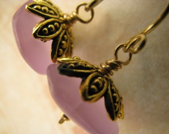 Lilac Earrings, Purple Earrings, Lilac and Antique Gold Frosted Rondelle Earrings