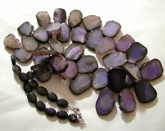 Purple Agate Slab Necklace.