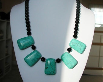 SALE 25% OFF and Free US Shipping. Turquoise and Black Onyx  Necklace.