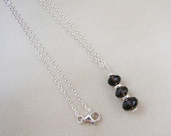 Smoky Quartz and Sterling Silver Pendant Necklace.