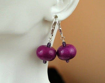 Purple Agate Sterling Silver Earrings.